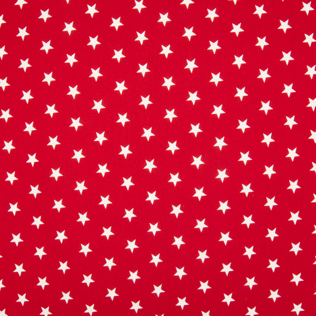 10mm White Star on Red - 100% Cotton