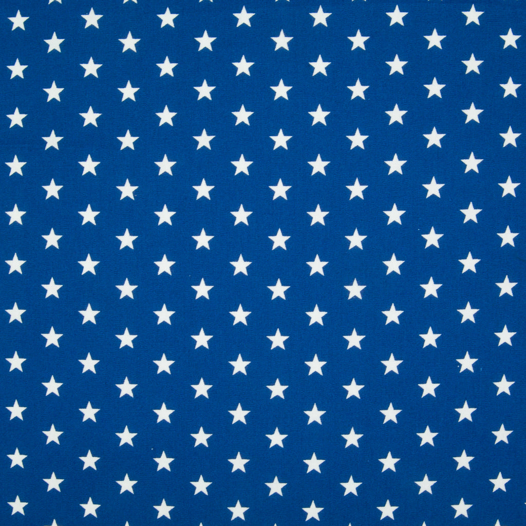 10mm White Star on Royal Blue - 100% Cotton