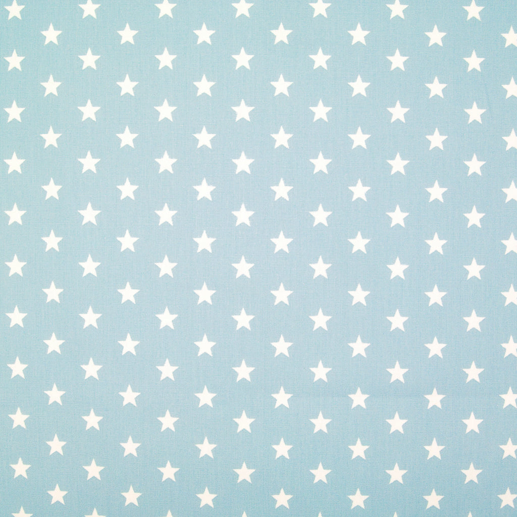 10mm White Star on Sky Blue - 100% Cotton