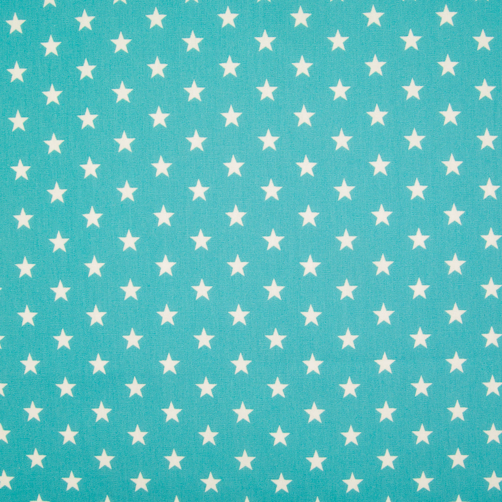 10mm White Star on Turquoise - 100% Cotton
