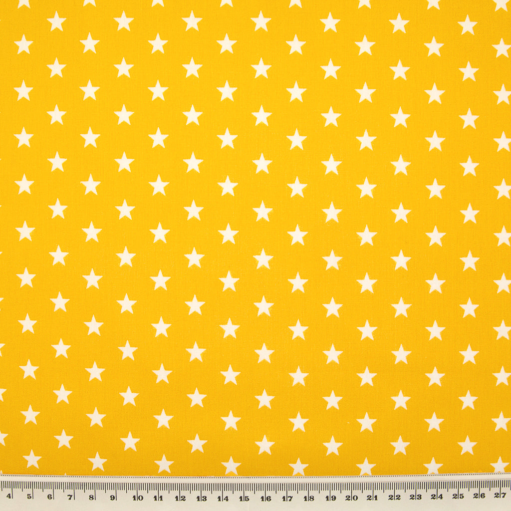 10mm White Star on Yellow - 100% Cotton