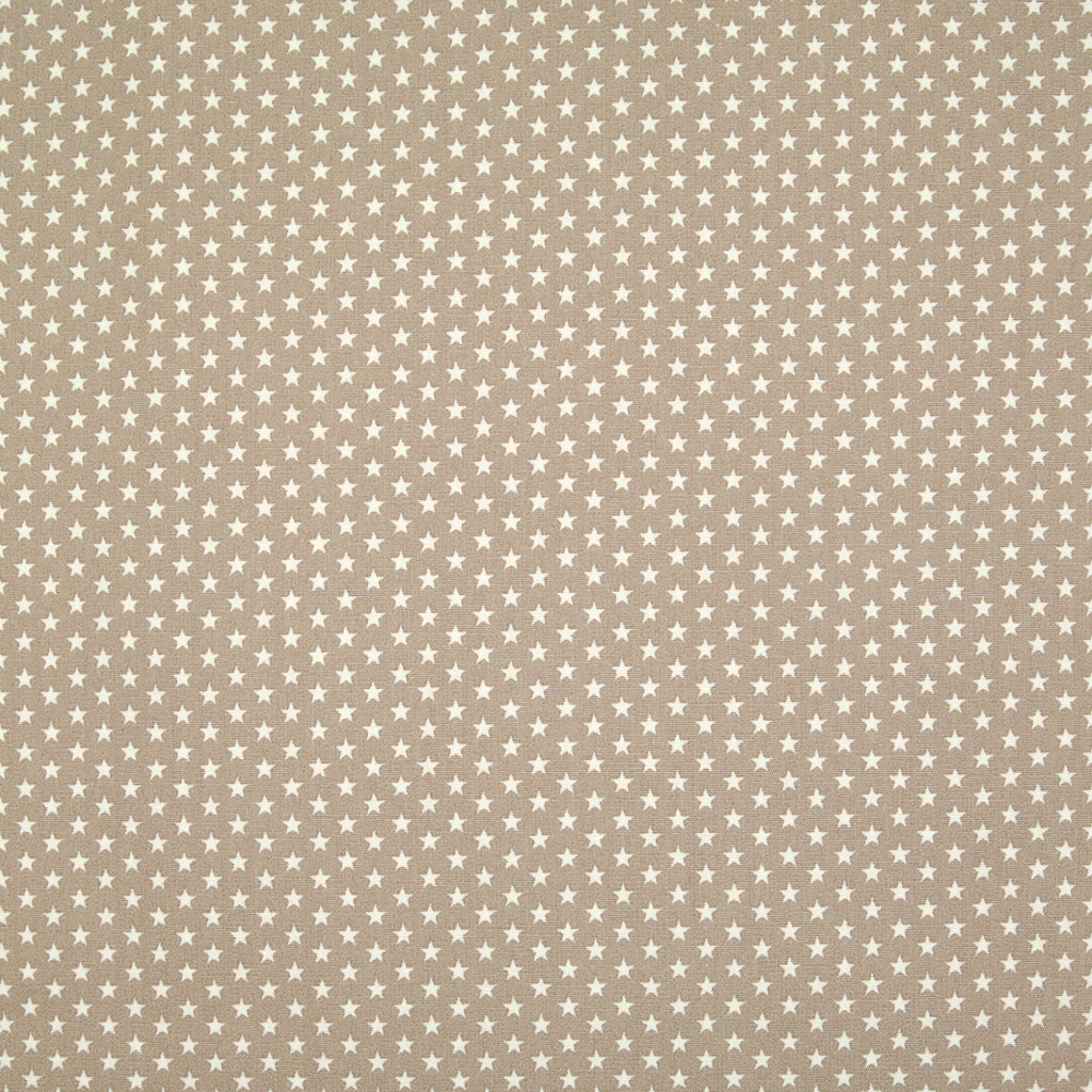 4mm Mini White Star on Beige - 100% Cotton