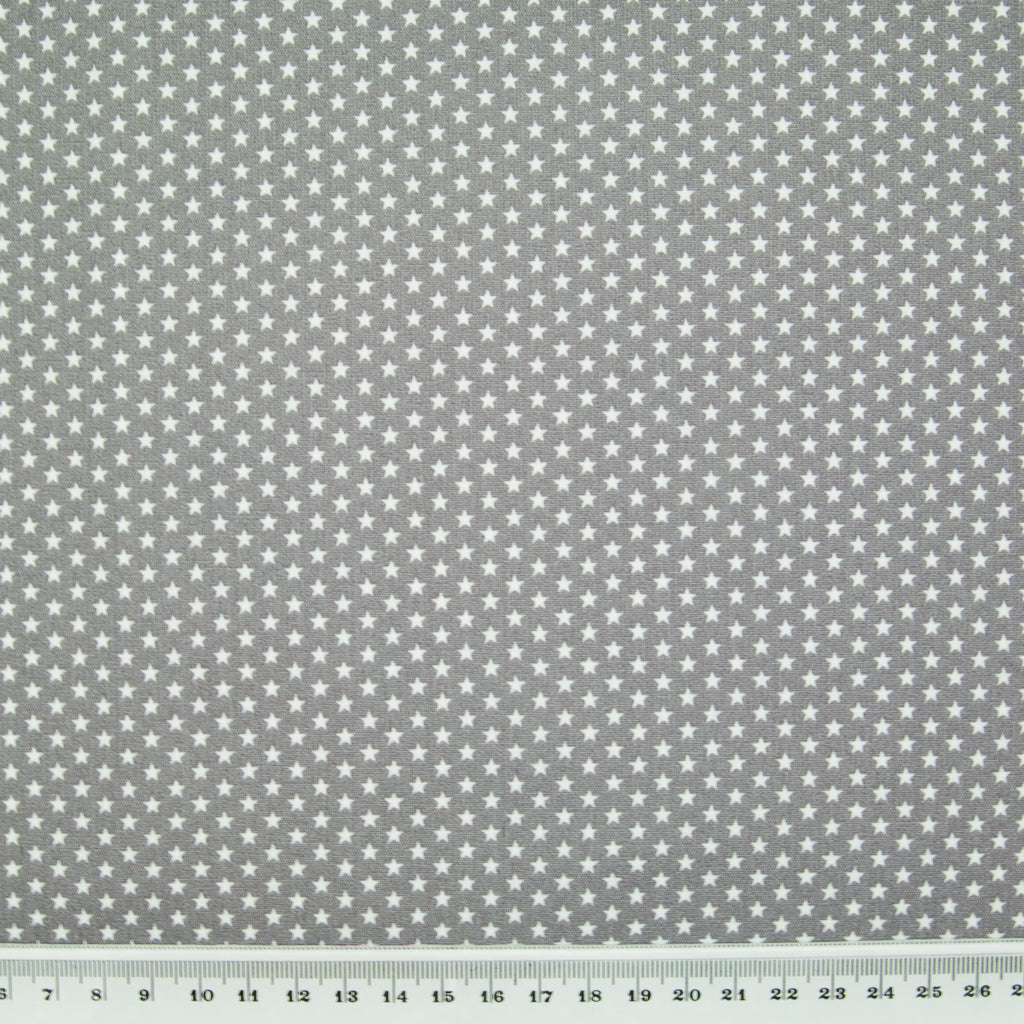 4mm Mini White Star on Grey - 100% Cotton