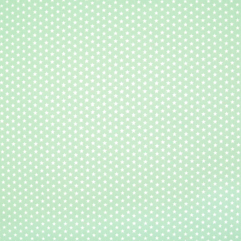 4mm Mini White Star on Mint - 100% Cotton