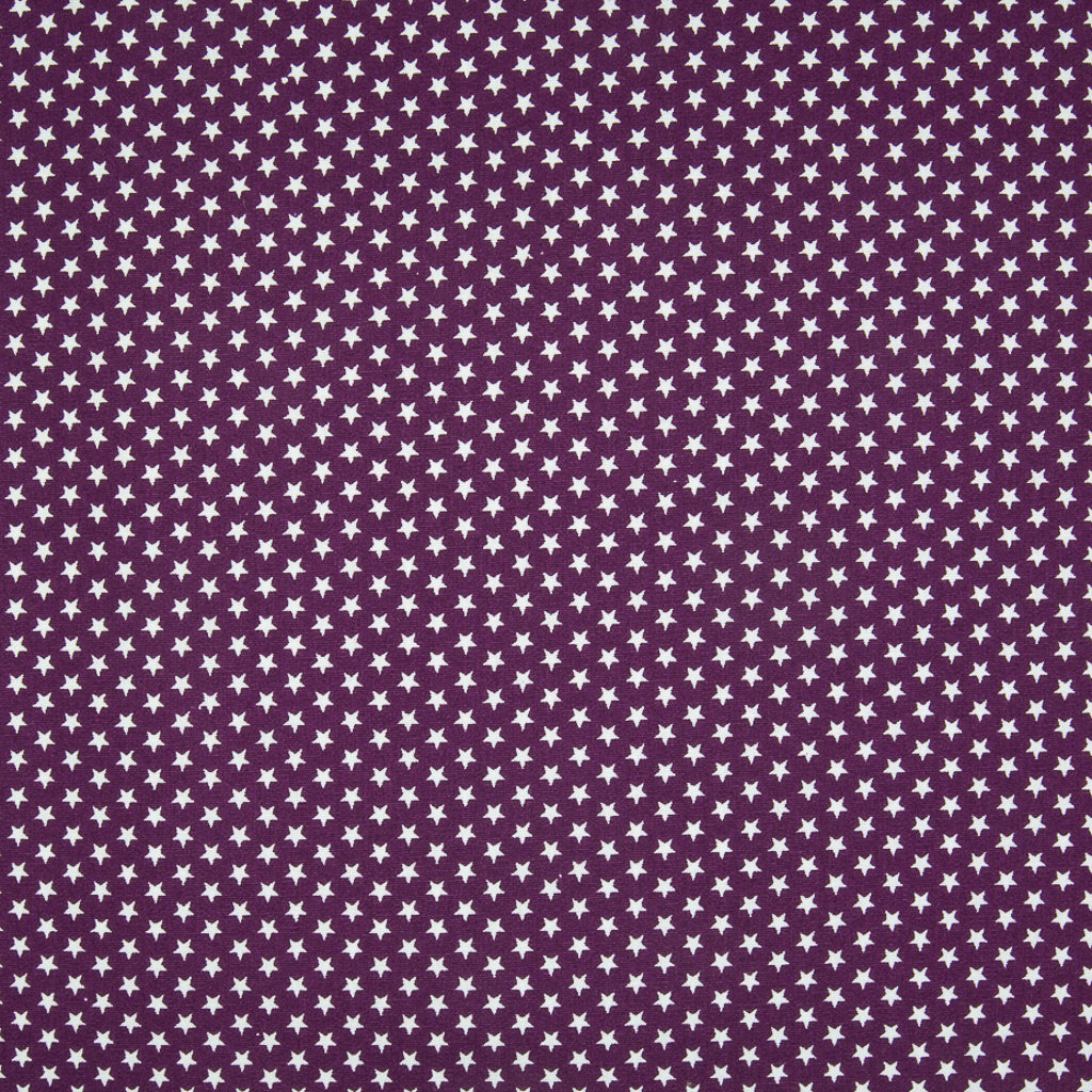4mm Mini White Star on Purple - 100% Cotton