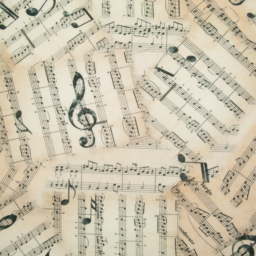 Sheet Music Notes -  100% Cotton Fabric