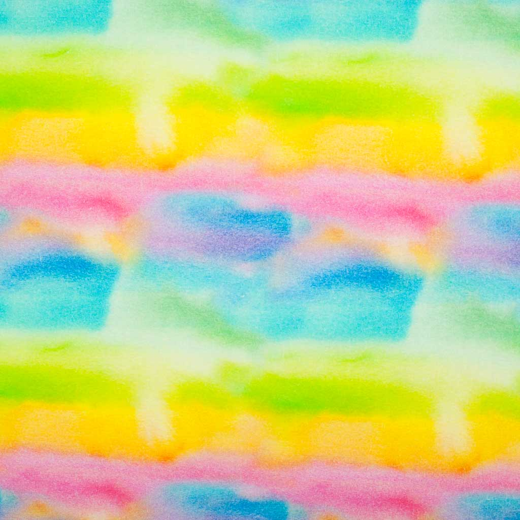 Bright colours of the rainbow are painted with watercolour on this 100% cotton fabric by Little Johnny