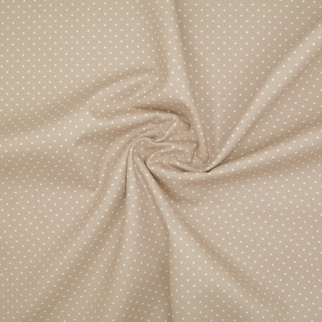 2mm White Pin Spot on Beige - 100% Cotton