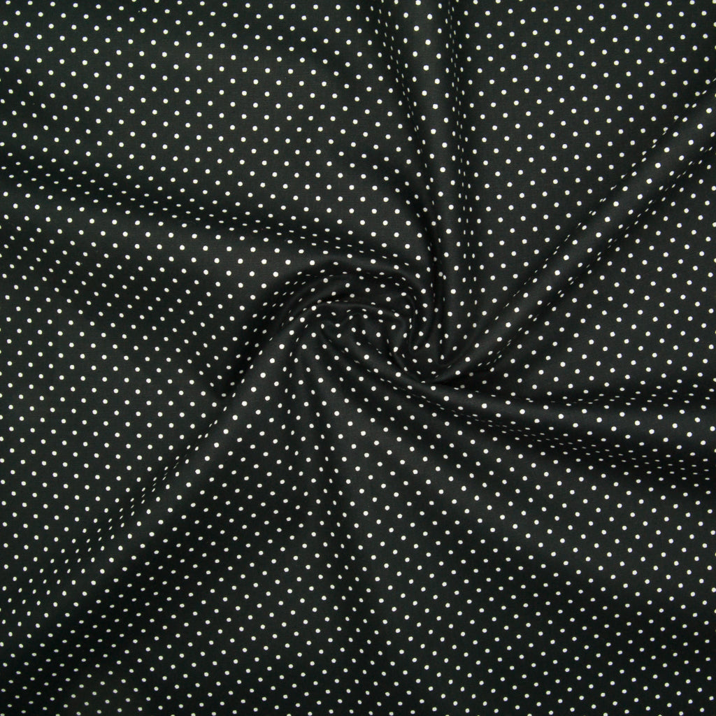 2mm White Pin Spot on Black - 100% Cotton