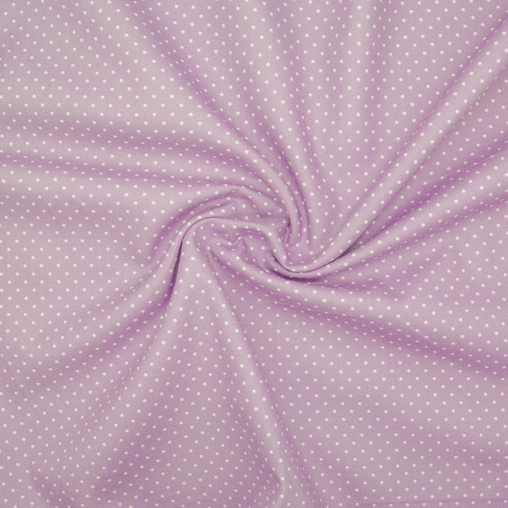 2mm White Pin Spot on Lilac- 100% Cotton