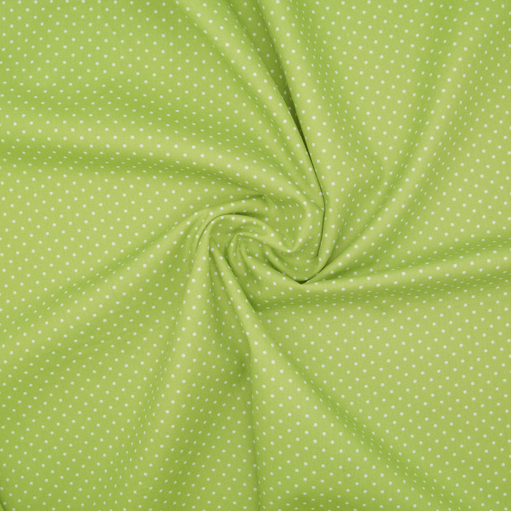 2mm White Pin Spot on Bright Green - 100% Cotton