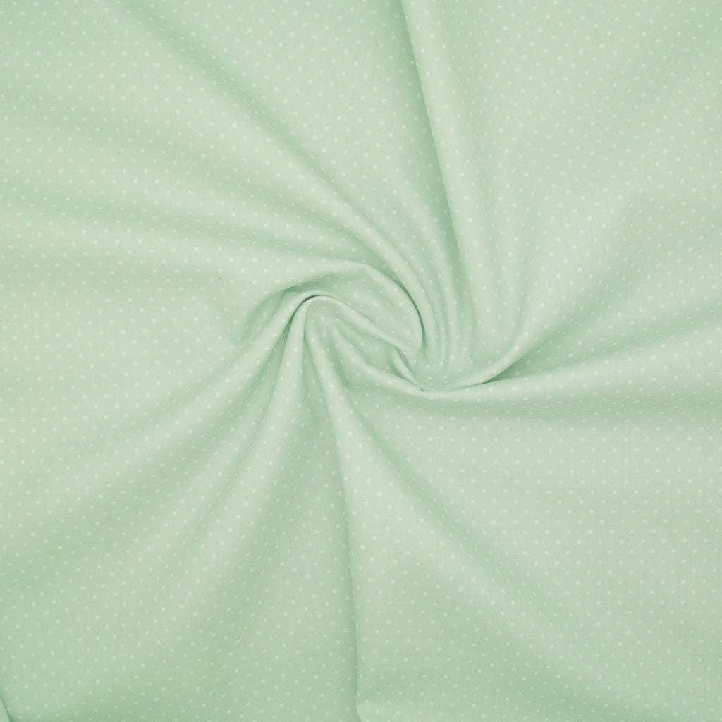 2mm White Pin Spot on Mint - 100% Cotton