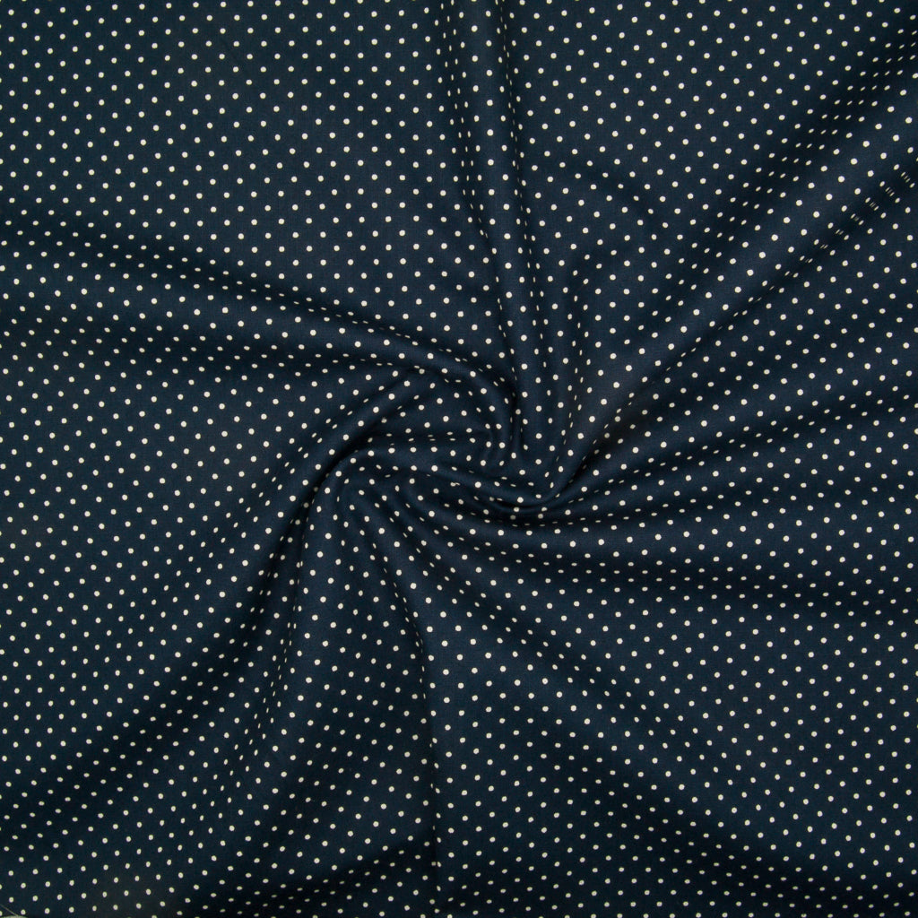 2mm White Pin Spot on Navy - 100% Cotton