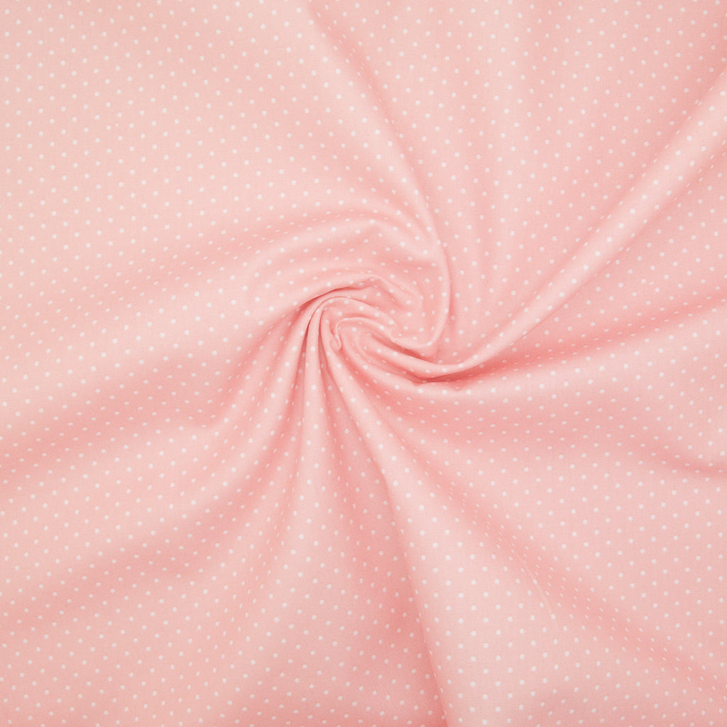 2mm White Pin Spot on Baby Pink - 100% Cotton
