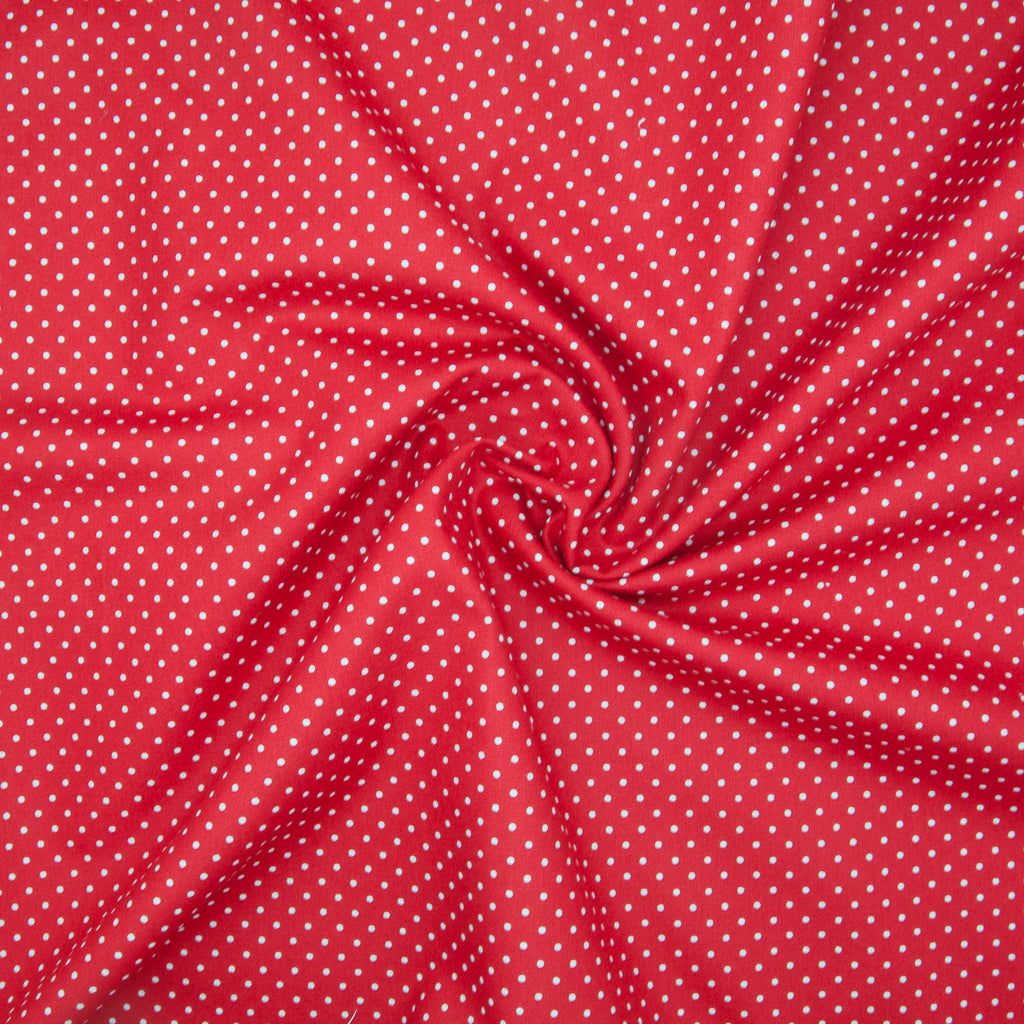 2mm White Pin Spot on Red - 100% Cotton