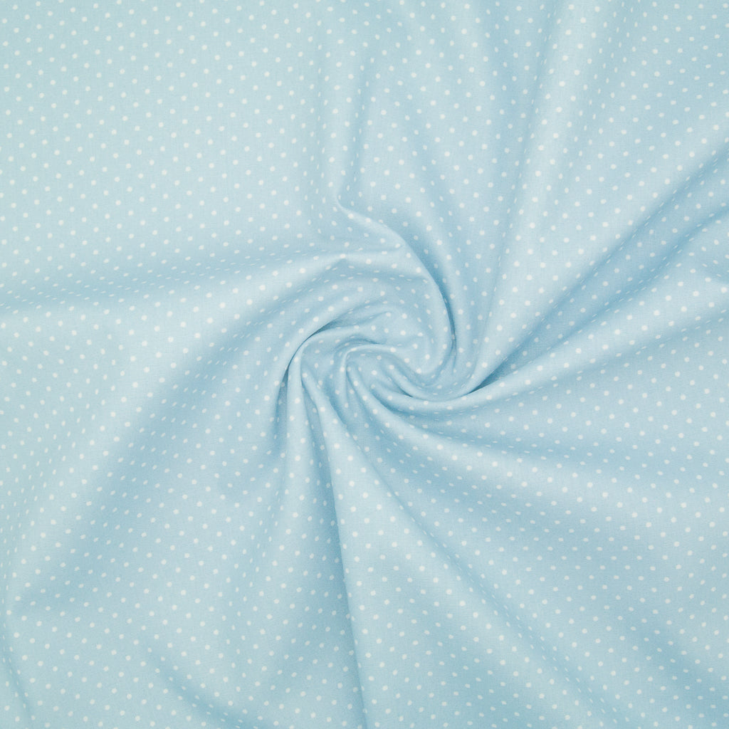 2mm White Pin Spot on Sky Blue - 100% Cotton