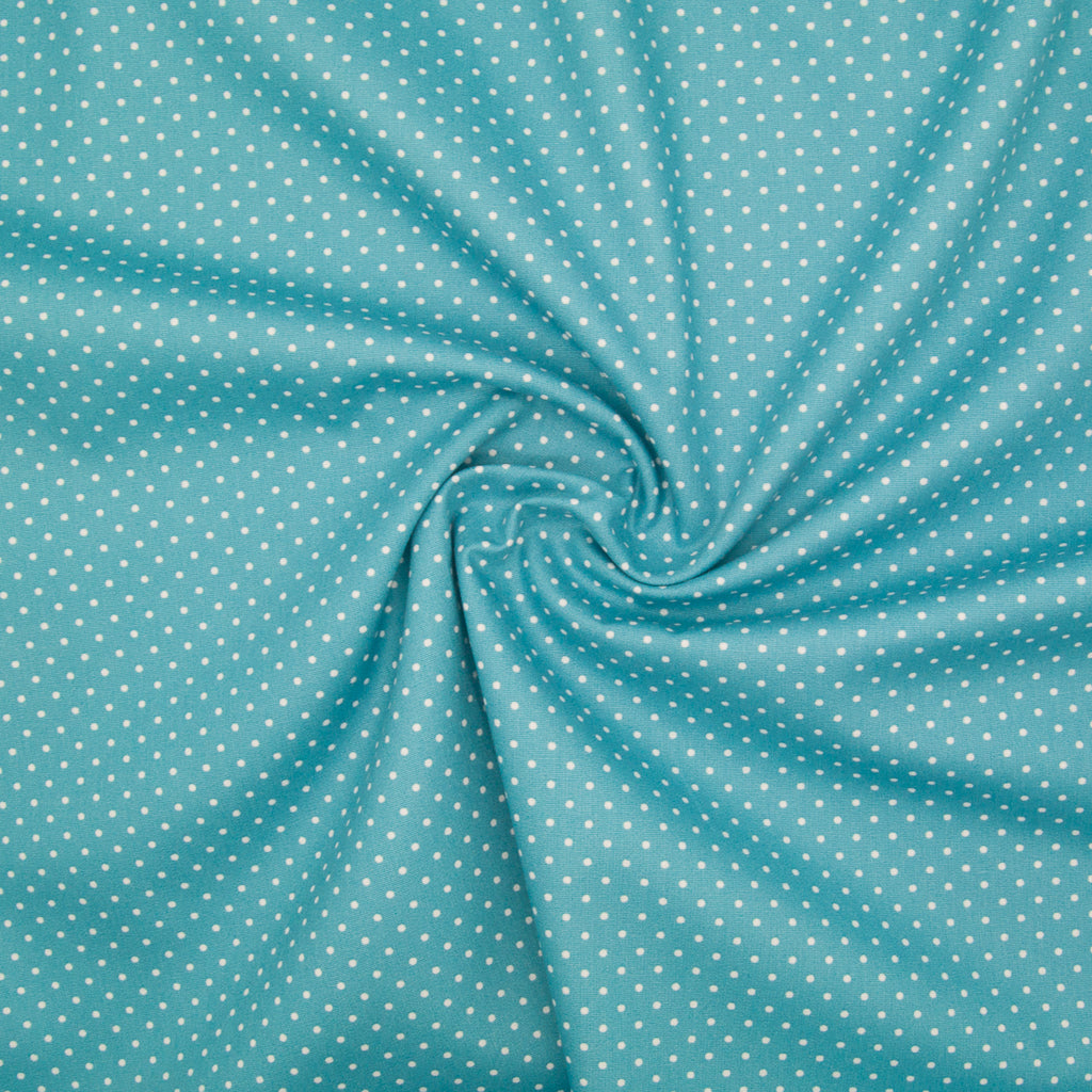 2mm White Pin Spot on Turquoise- 100% Cotton