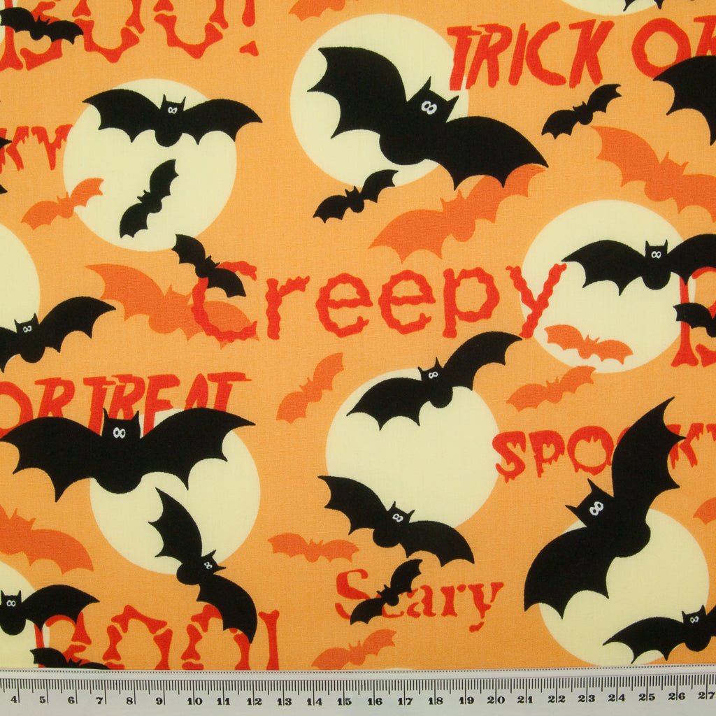 Halloween Trick or Treat Bat -  100% Cotton Fabric