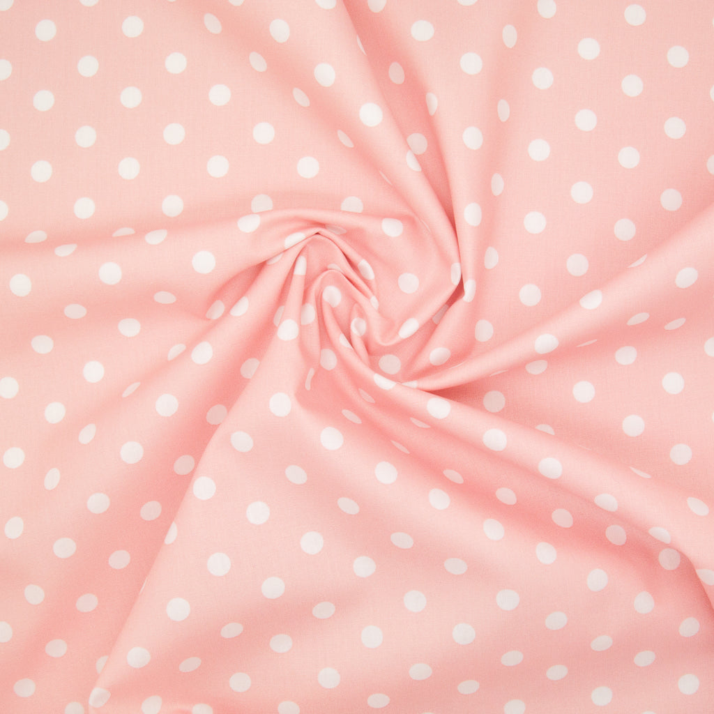 8mm White Pea Spot on Baby Pink - 100% Cotton