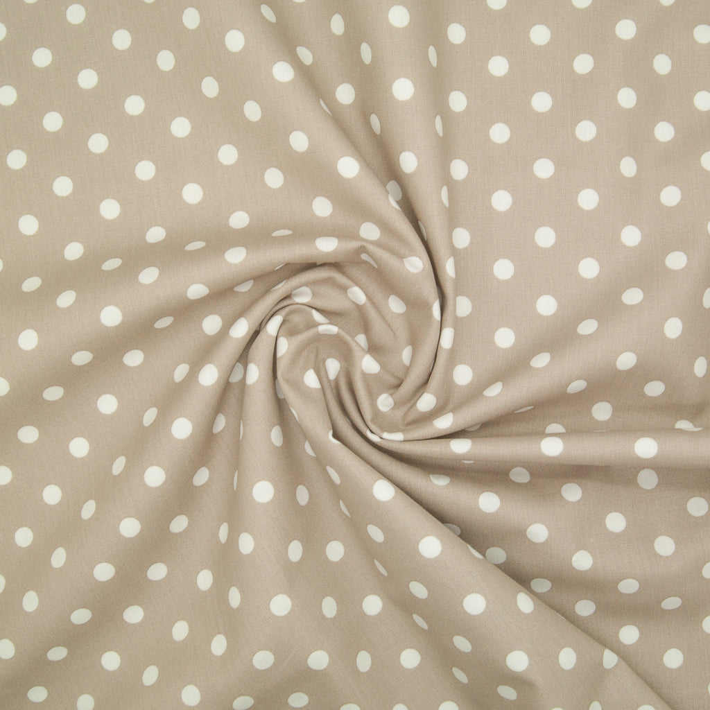 8mm White Pea Spot on Beige - 100% Cotton