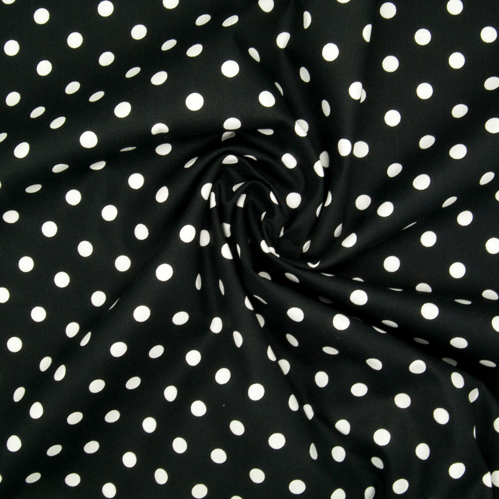 8mm White Pea Spot on Black- 100% Cotton