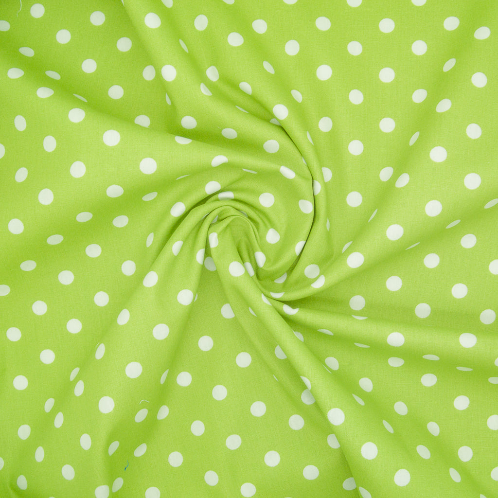 8mm White Pea Spot on Bright Green- 100% Cotton