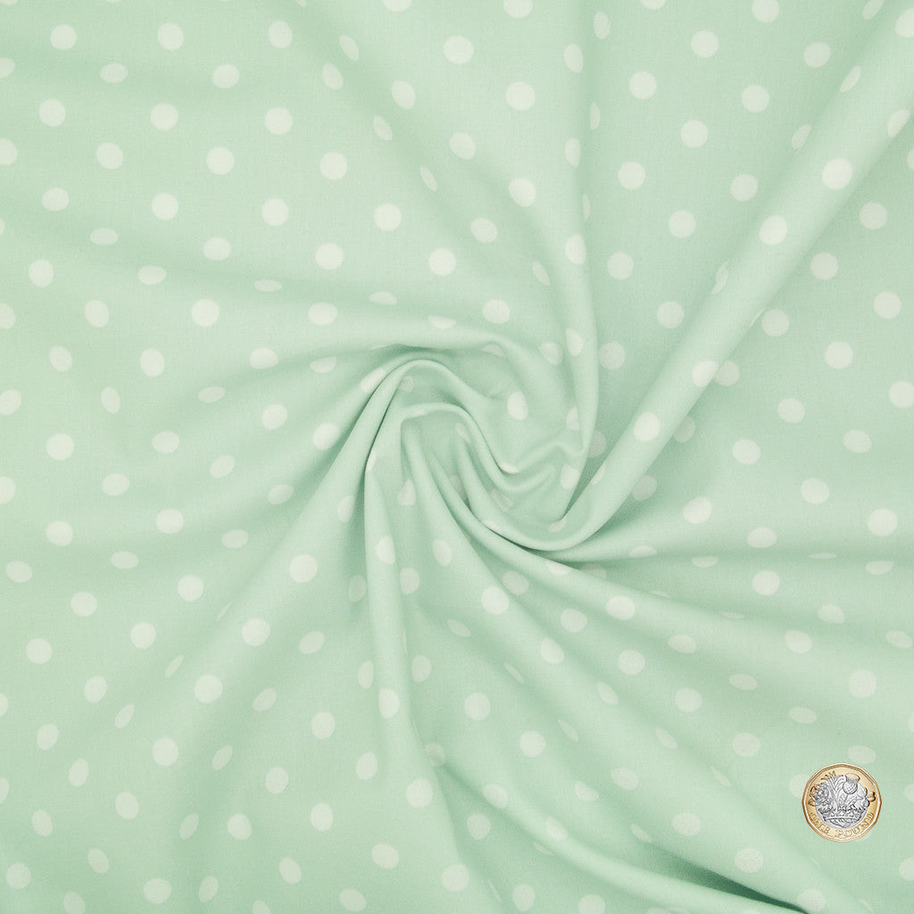 8mm White Pea Spot on Mint - 100% Cotton