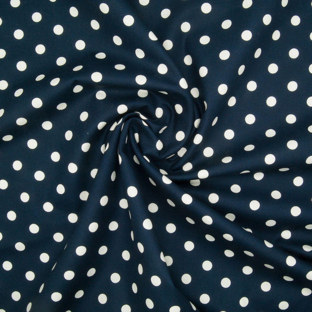 8mm White Pea Spot on Navy- 100% Cotton