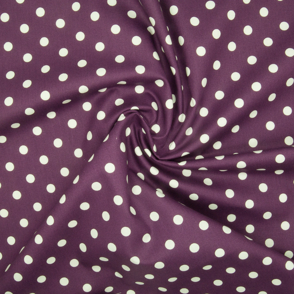 8mm White Pea Spot on Purple - 100% Cotton