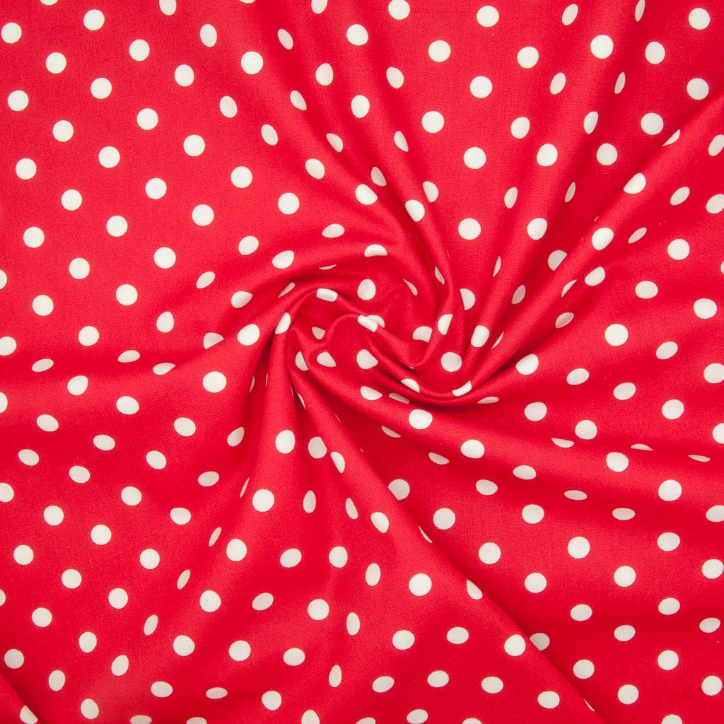 8mm White Pea Spot on Red - 100% Cotton