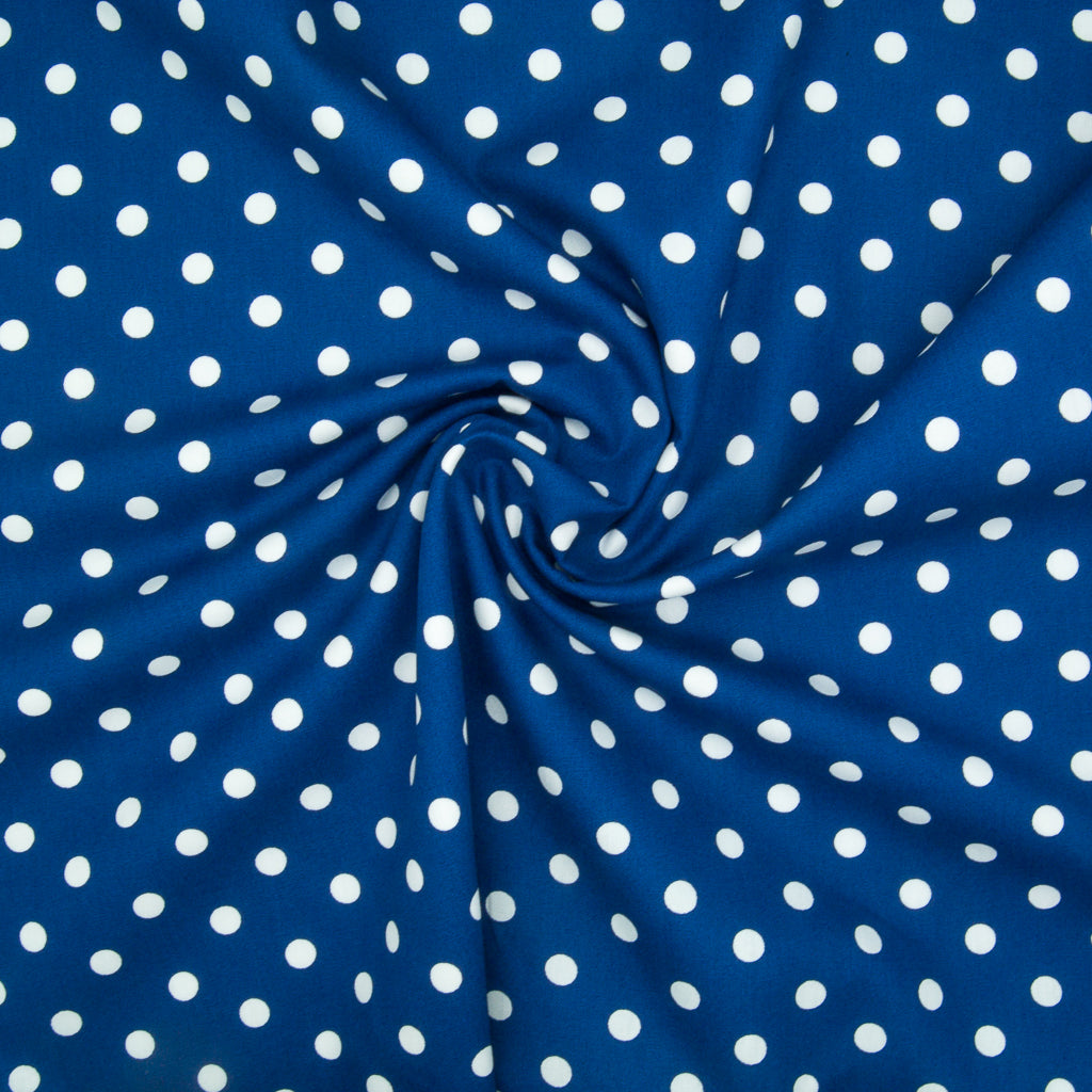 8mm White Pea Spot on Royal Blue- 100% Cotton