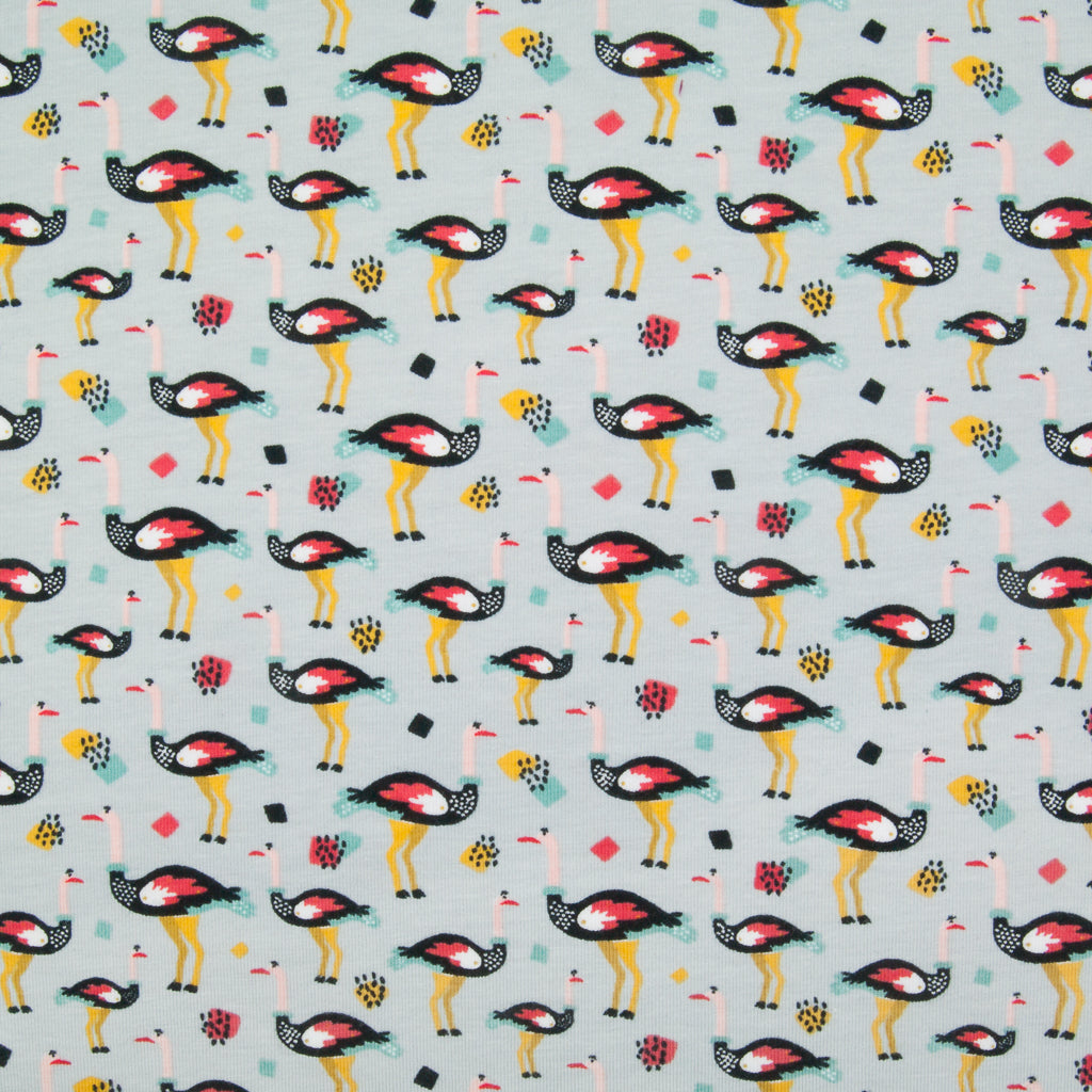 Lines of ostrichs with red wings printed on a fat quarter of grey cotton jersey fabric