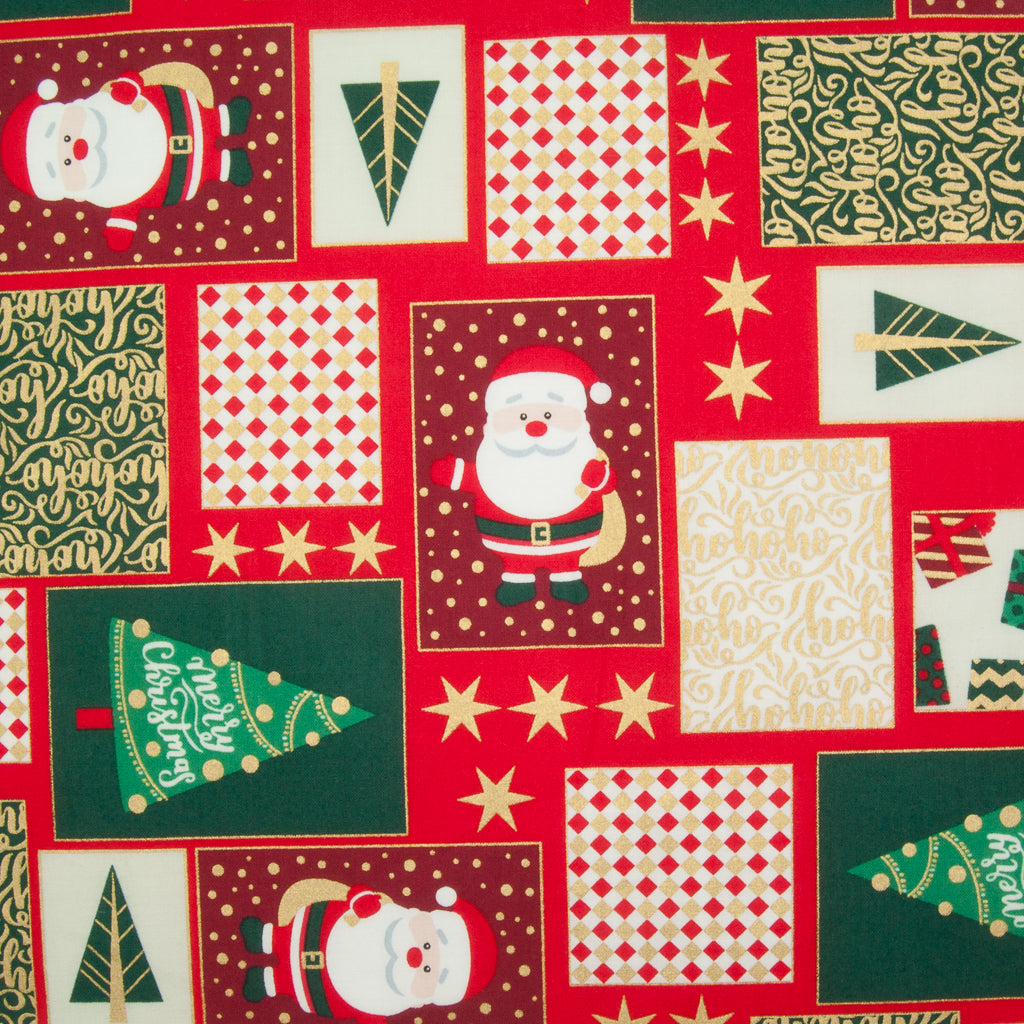 Santa Rectangles - 100% Cotton Fabric