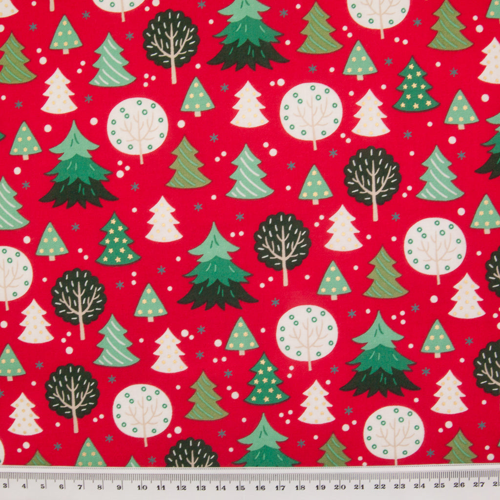 Green & Ivory Christmas Trees on Red - 100% Cotton Fabric