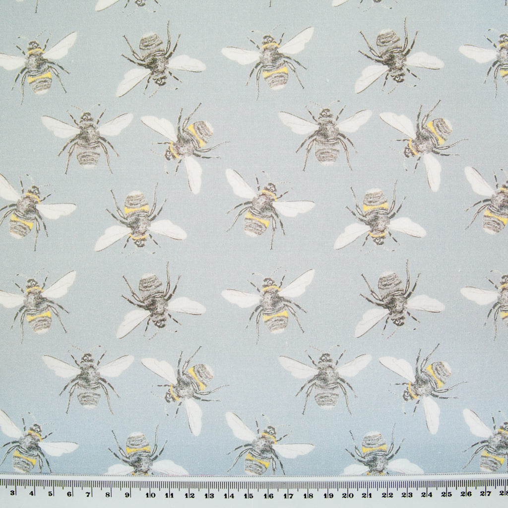 Bees on Grey by Little Johnny -  100% Cotton Fabric