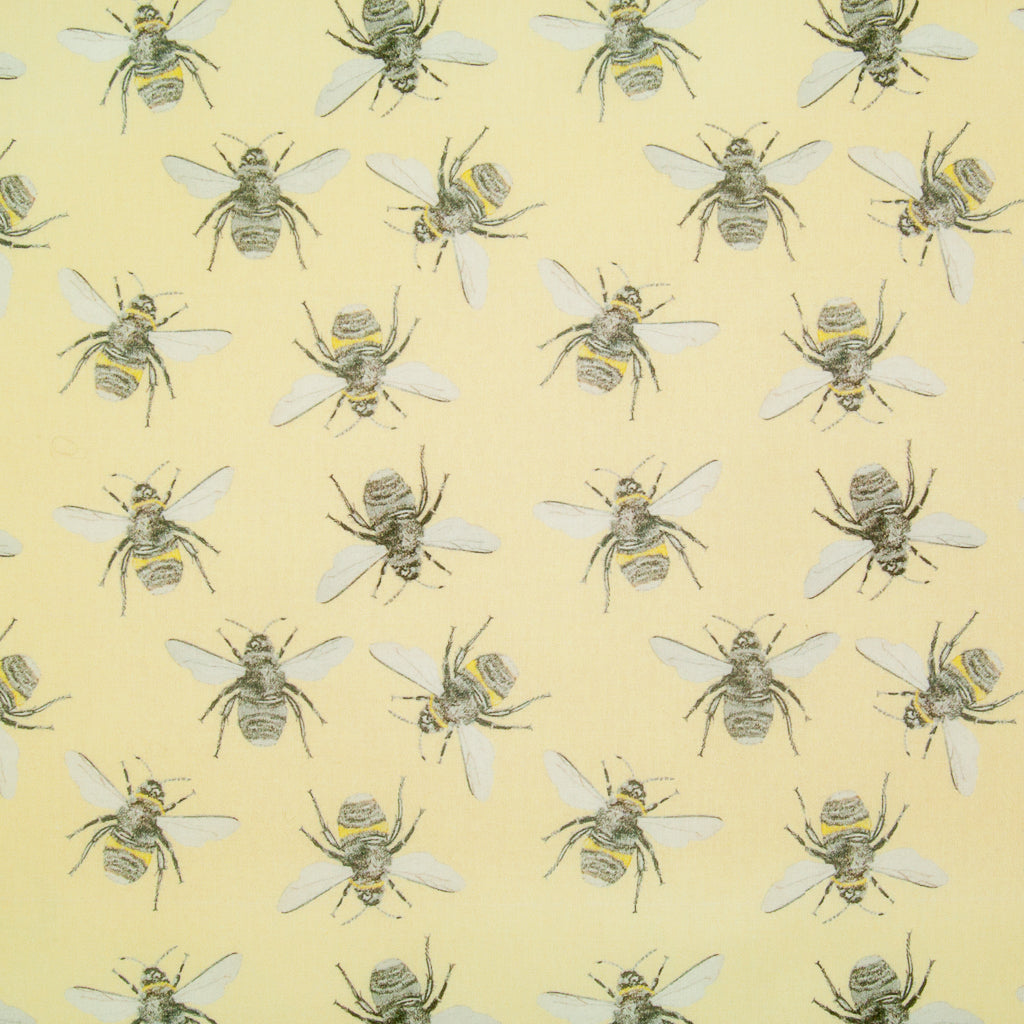 Bees on Lemon Yellow by Little Johnny -  100% Cotton Fabric