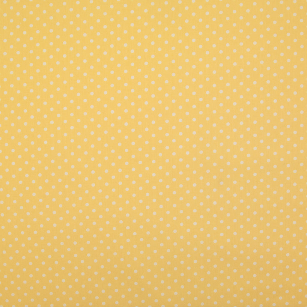 Rose & Hubble White Mini Spot on Yellow -  100% Cotton Poplin