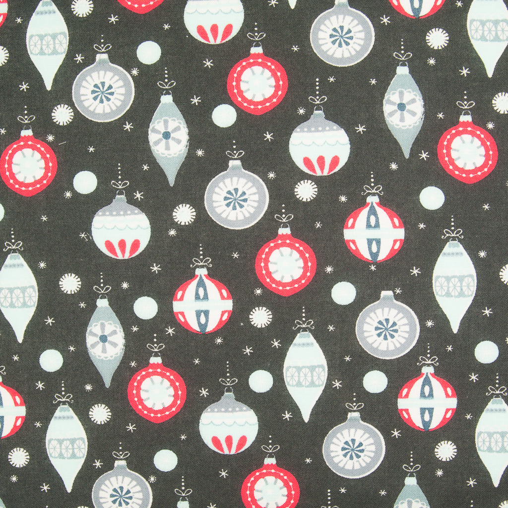Christmas Baubles on Charcoal - 100% Cotton Fabric