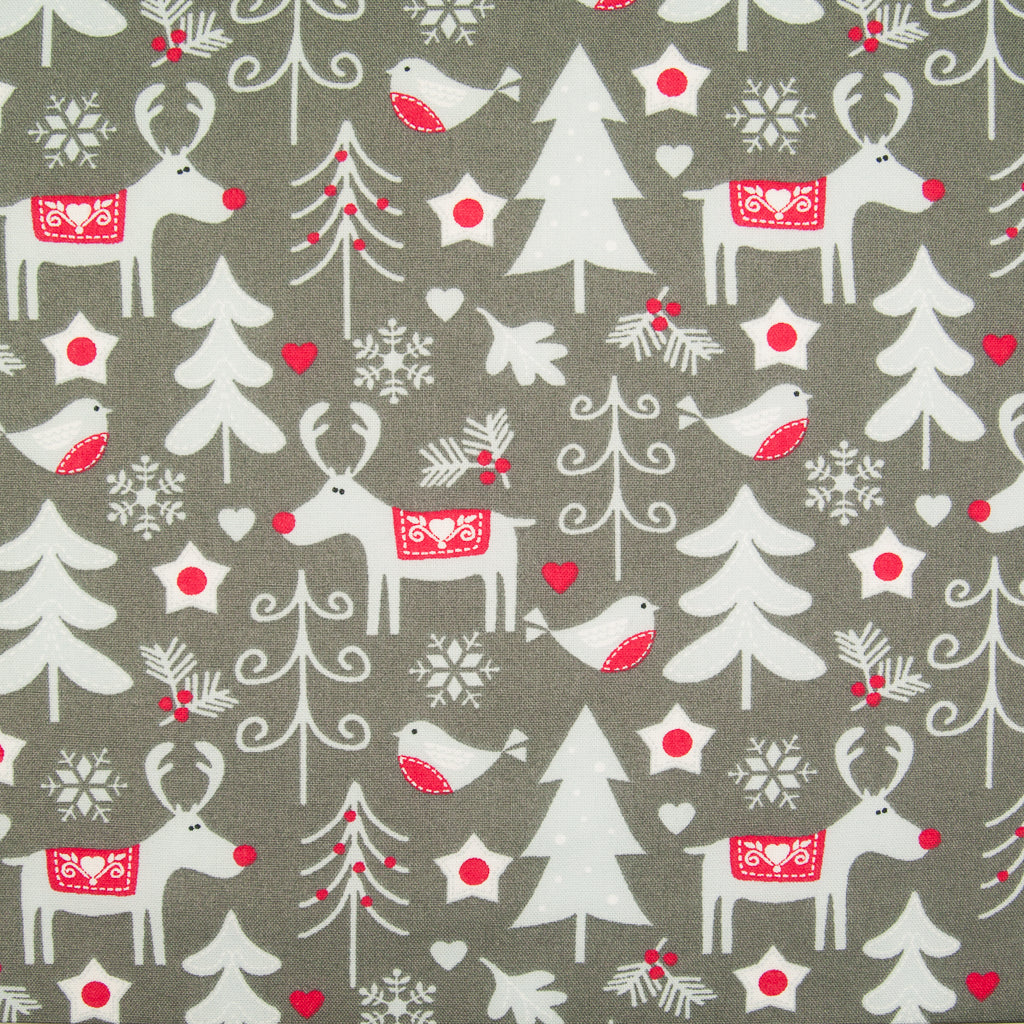 Reindeer and Robins on Grey - 100% Cotton Fabric