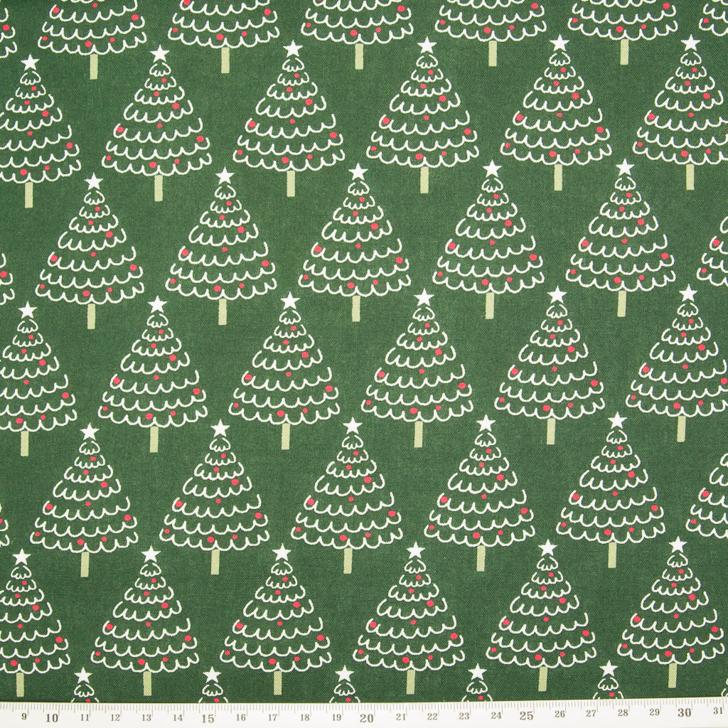 Christmas Trees on Green - 100% Cotton Fabric
