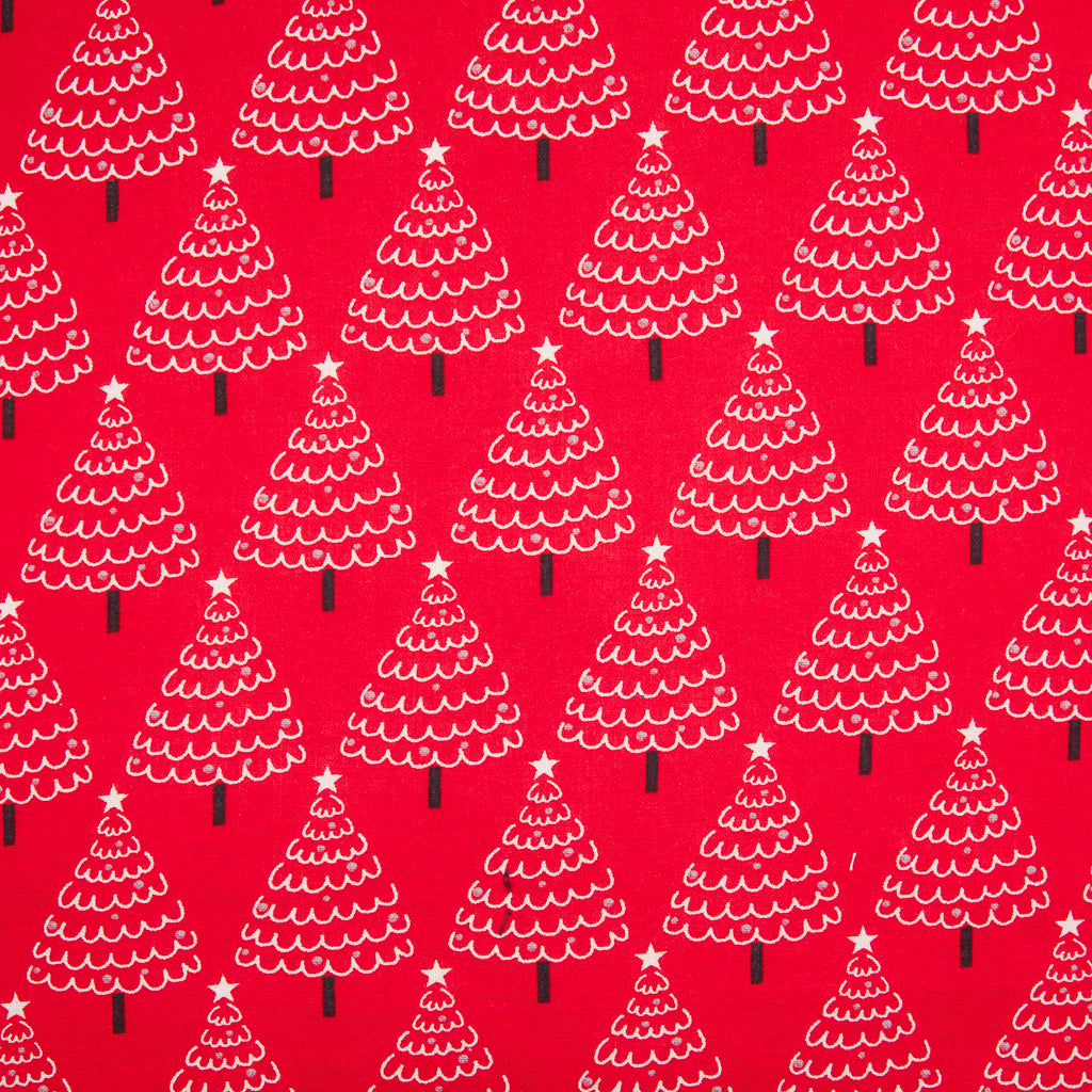 Christmas Trees on Red - 100% Cotton Fabric