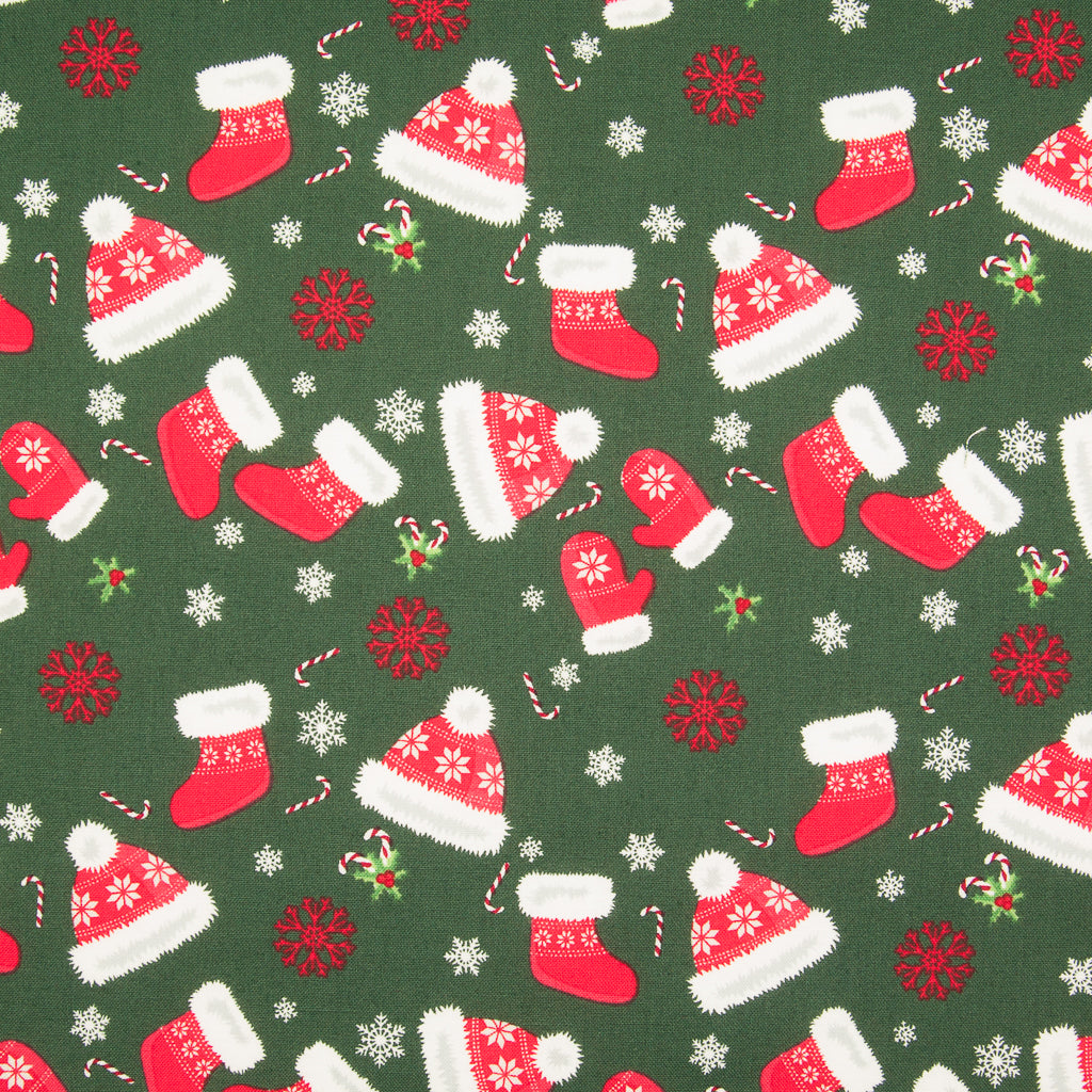 Christmas Hats & Mittens on Green - 100% Cotton Fabric