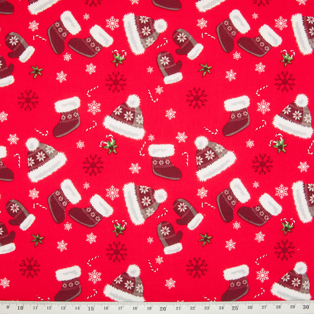 Christmas Hats & Mittens on Red - 100% Cotton Fabric