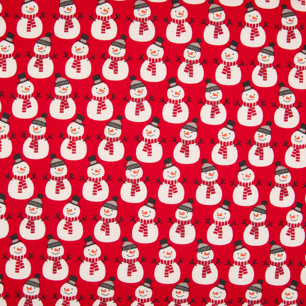 Mini Snowman on Red - 100% Cotton Fabric