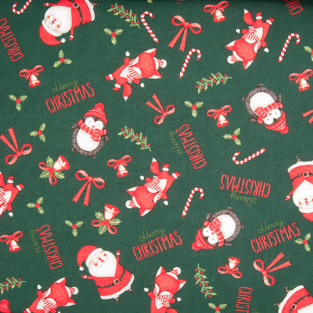 Santa & Penguins on Green - 100% Cotton Fabric