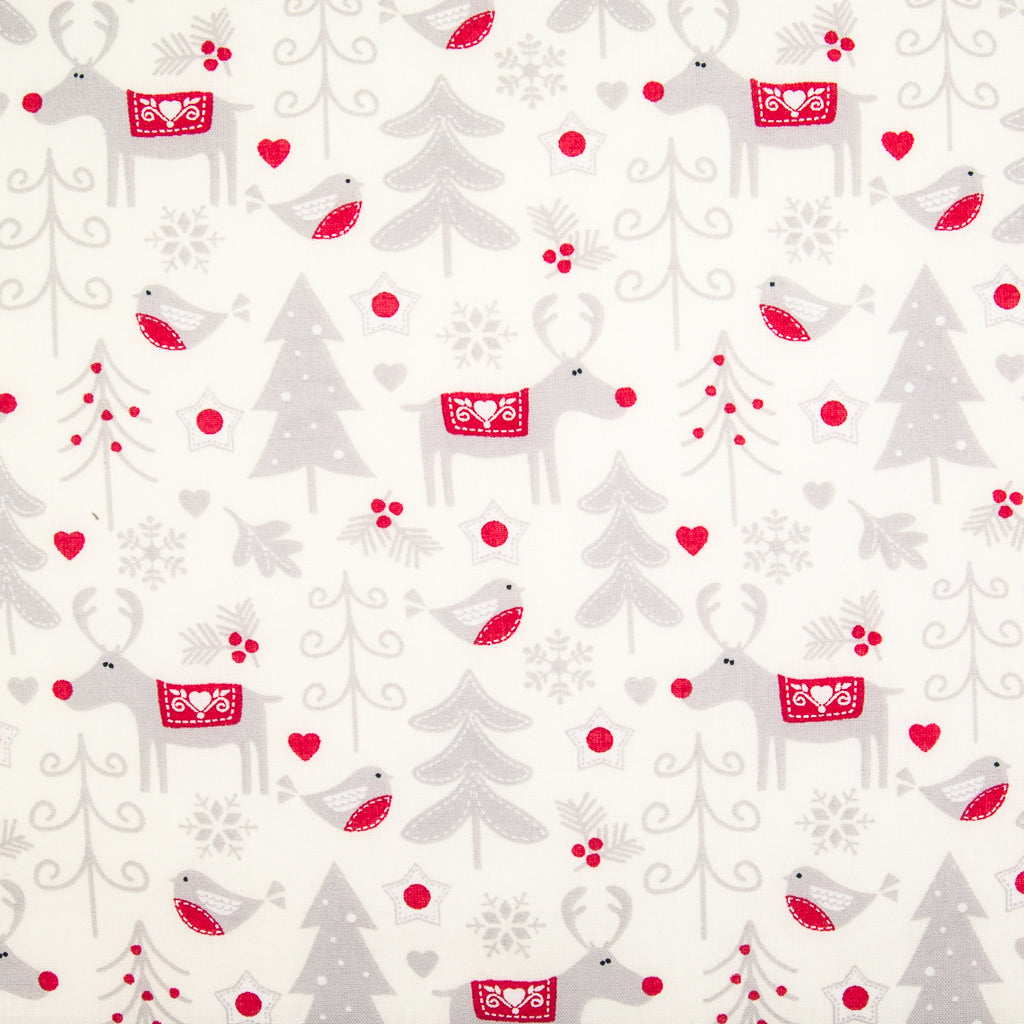 An ivory christmas cotton fabric featuring silver reindeer with red noses and robin red breast