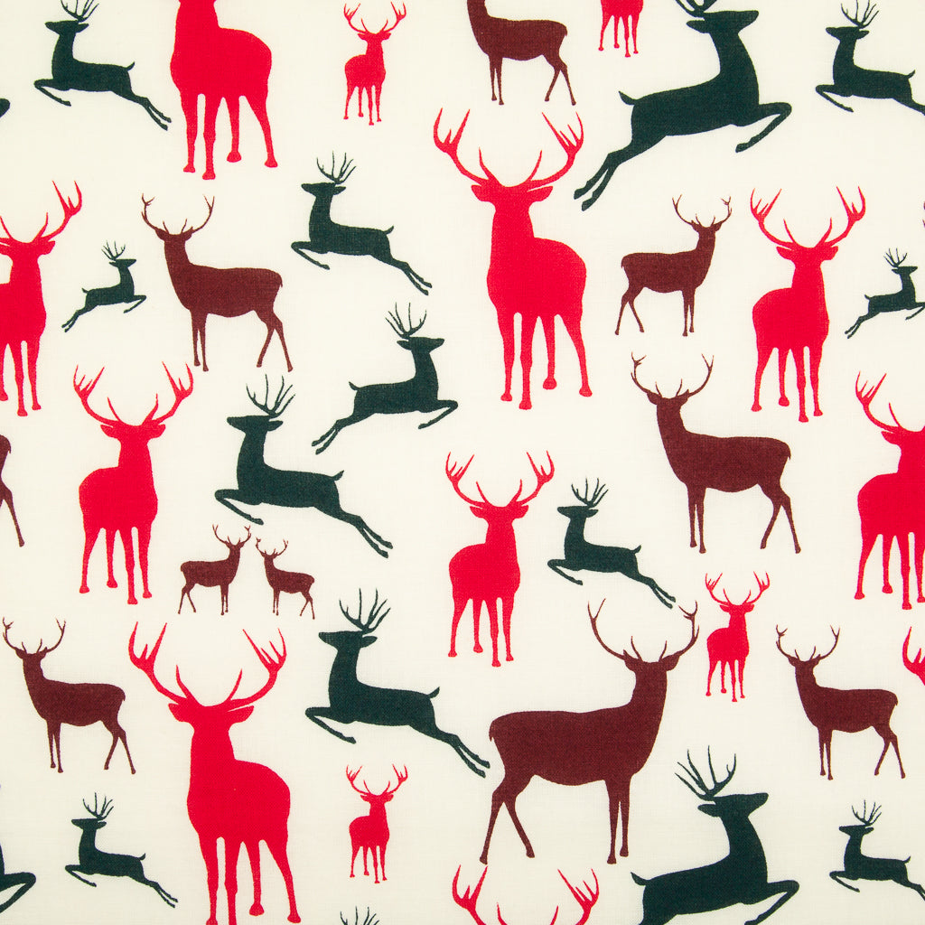 Christmas Stags on Ivory - 100% Cotton Fabric