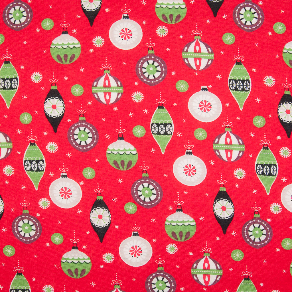 Christmas Baubles on Red - 100% Cotton Fabric