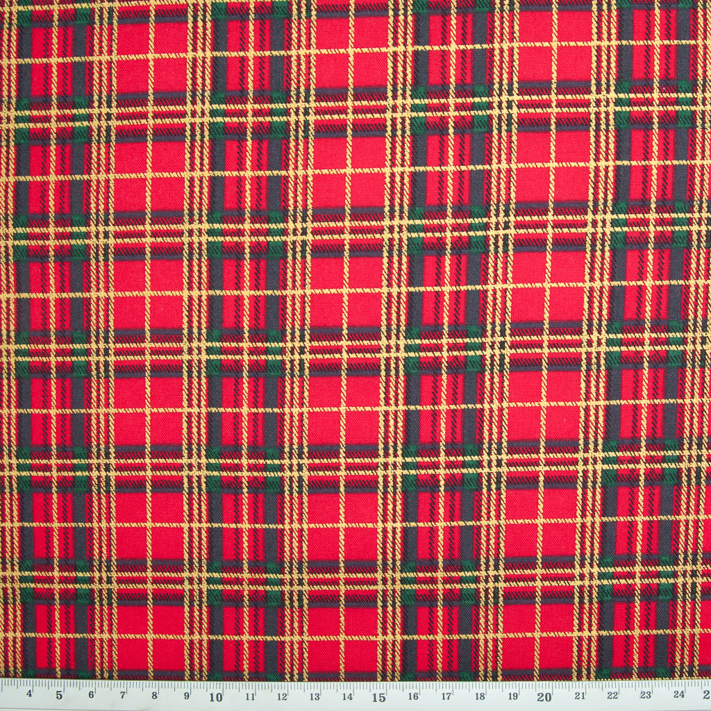 Red, Green & Gold Christmas Tartan - 100% Cotton Fabric
