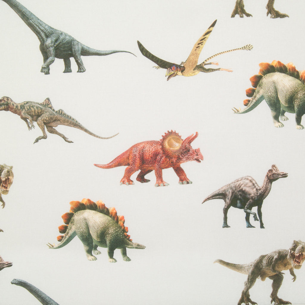 Dinosaur on Silver - 100% Cotton Fabric